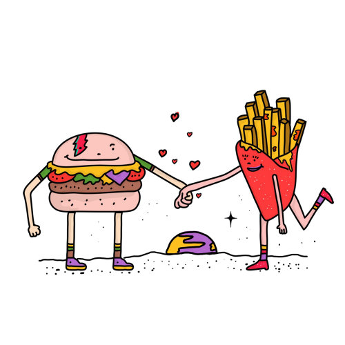 Digital burger and french fries
