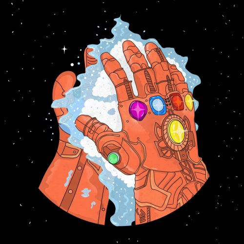 3d illustrationThanos hands with stones