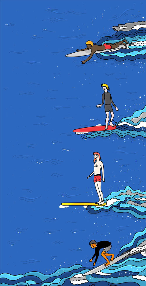 Graphic of people surfing