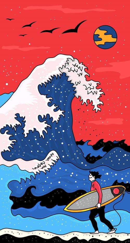 Graphic illustration of wave