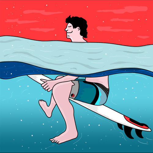Graphic of man on surfboard