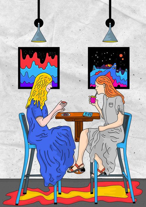 Graphic illustration of girls having coffee
