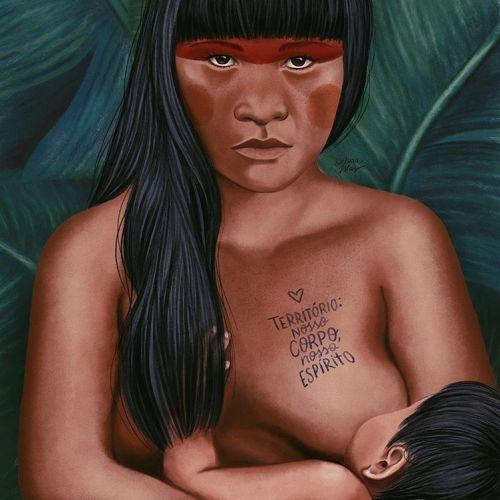 Breastfeeding mother portrait illustration