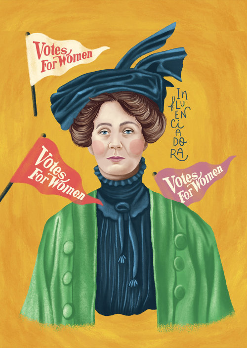 Emmeline Pankhurst portrait illustration