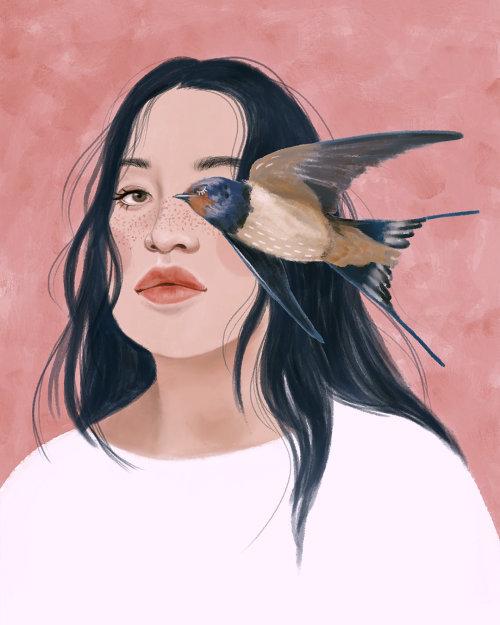 妇女肖像插图由黛博拉岛