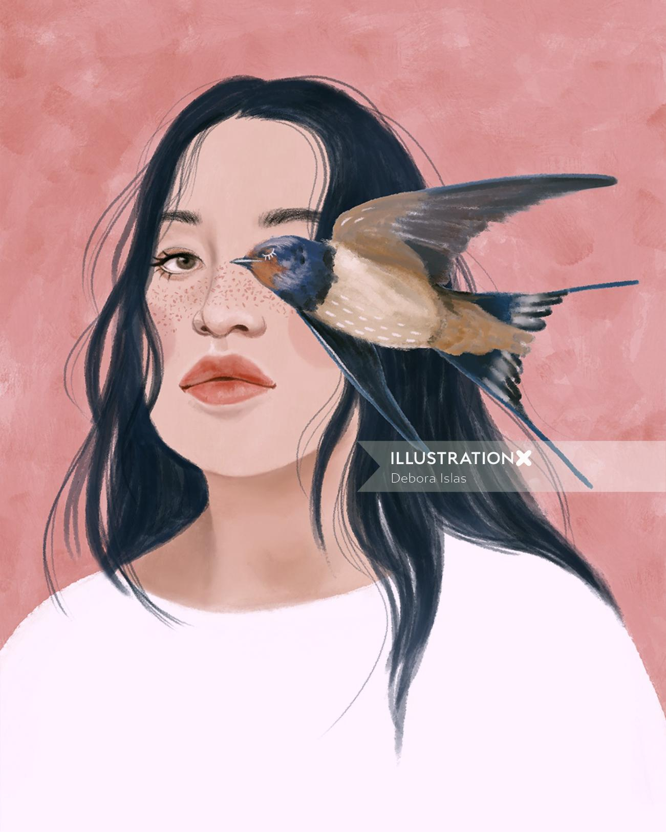 Women portrait illustration by Debora Islas
