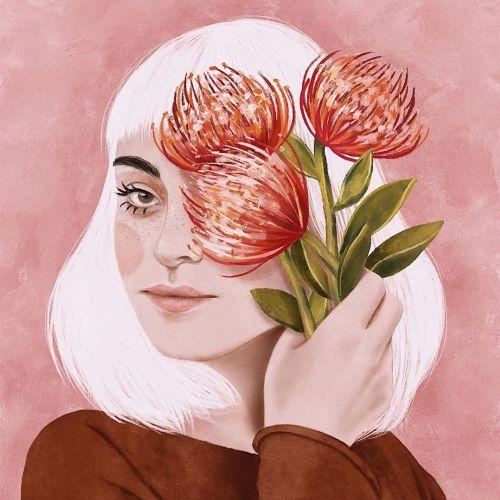 Portrait illustration of flower lady