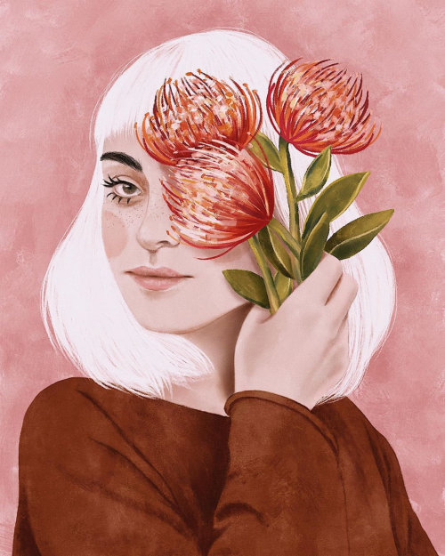 Portrait illustration of flower lady