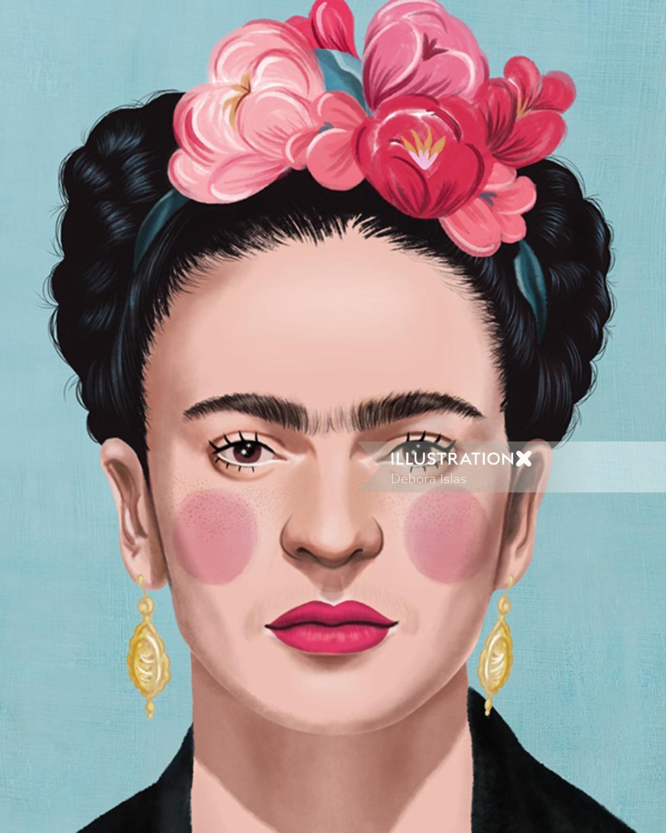 Frida Kahlo portrait illustration