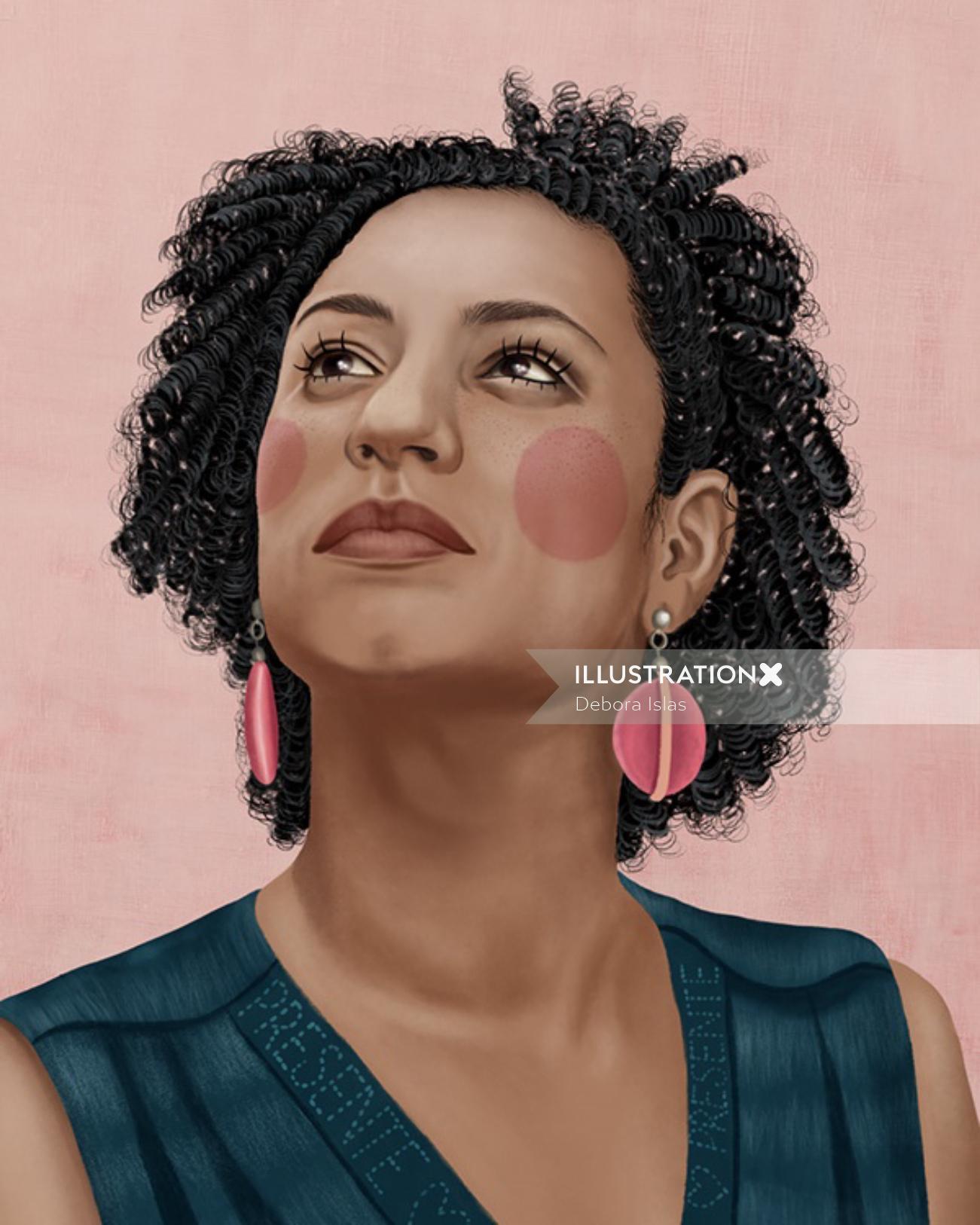 Portrait illustration of Marielle Franco