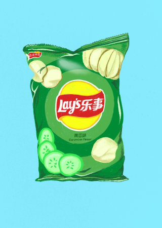 Cucumber Lays packaging illustration