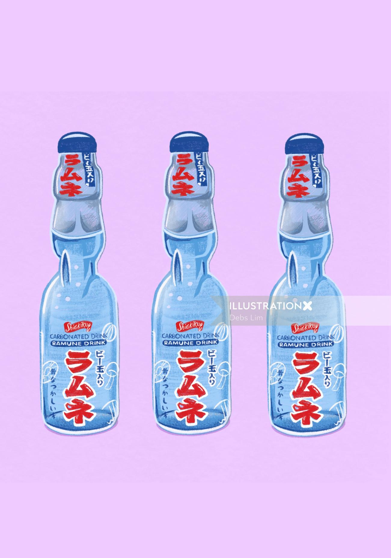 Ramune drink illustration