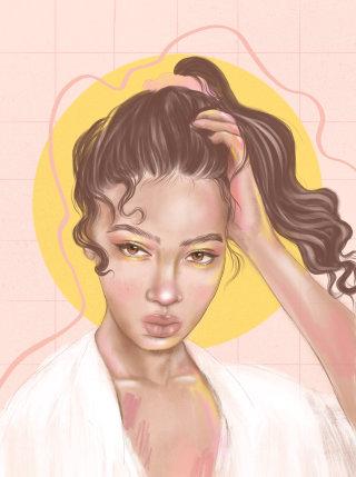 woman digital pencil portrait in morning