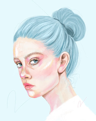 Blue haired portrait of woman
