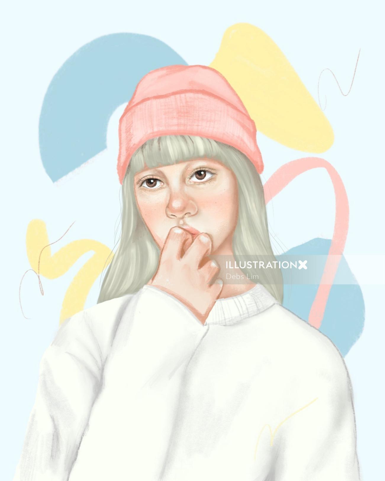 winter wear girl illustration