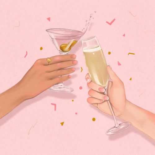 Champagne and Martini cheers & confetti