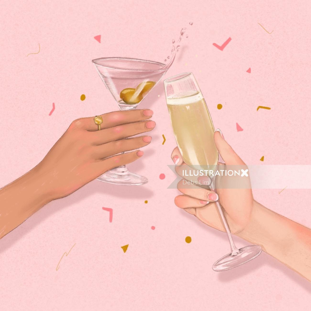 Champagne and Martini cheers & confetti