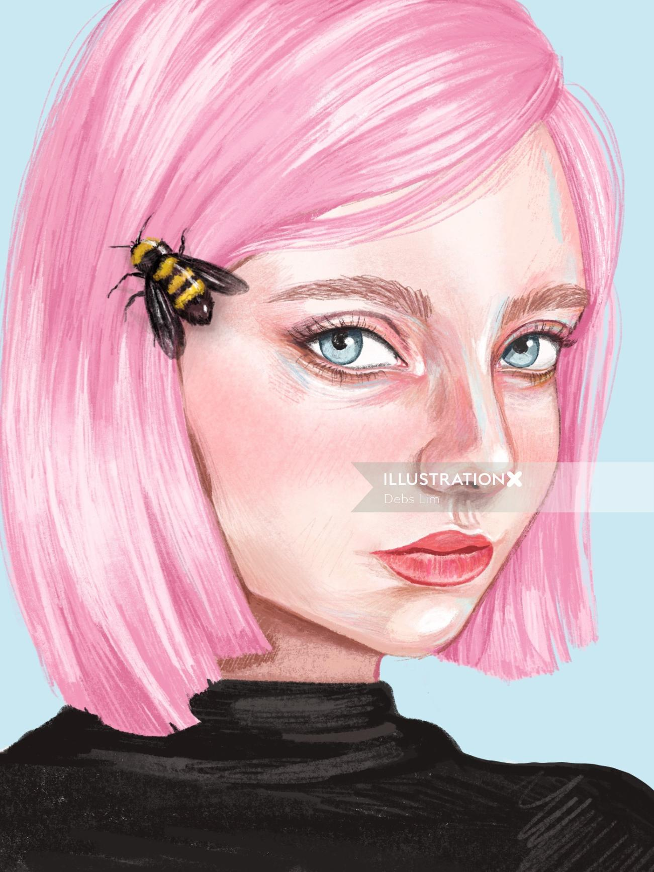 Bee and pink haired female portrait