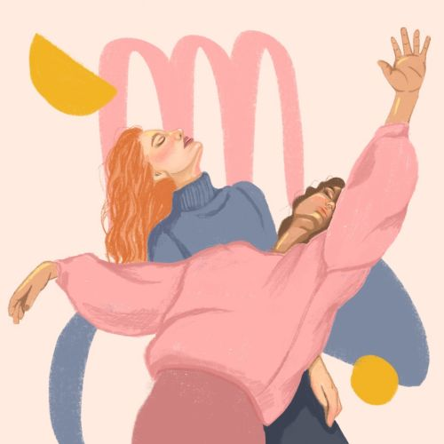 Two best friends dancing pop illustration