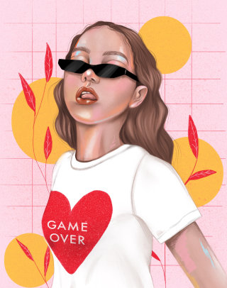 Game over t-shirt wearing woman portrait