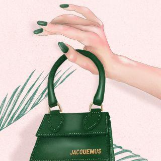 Fashion illustration of a Jacquemus mini bag