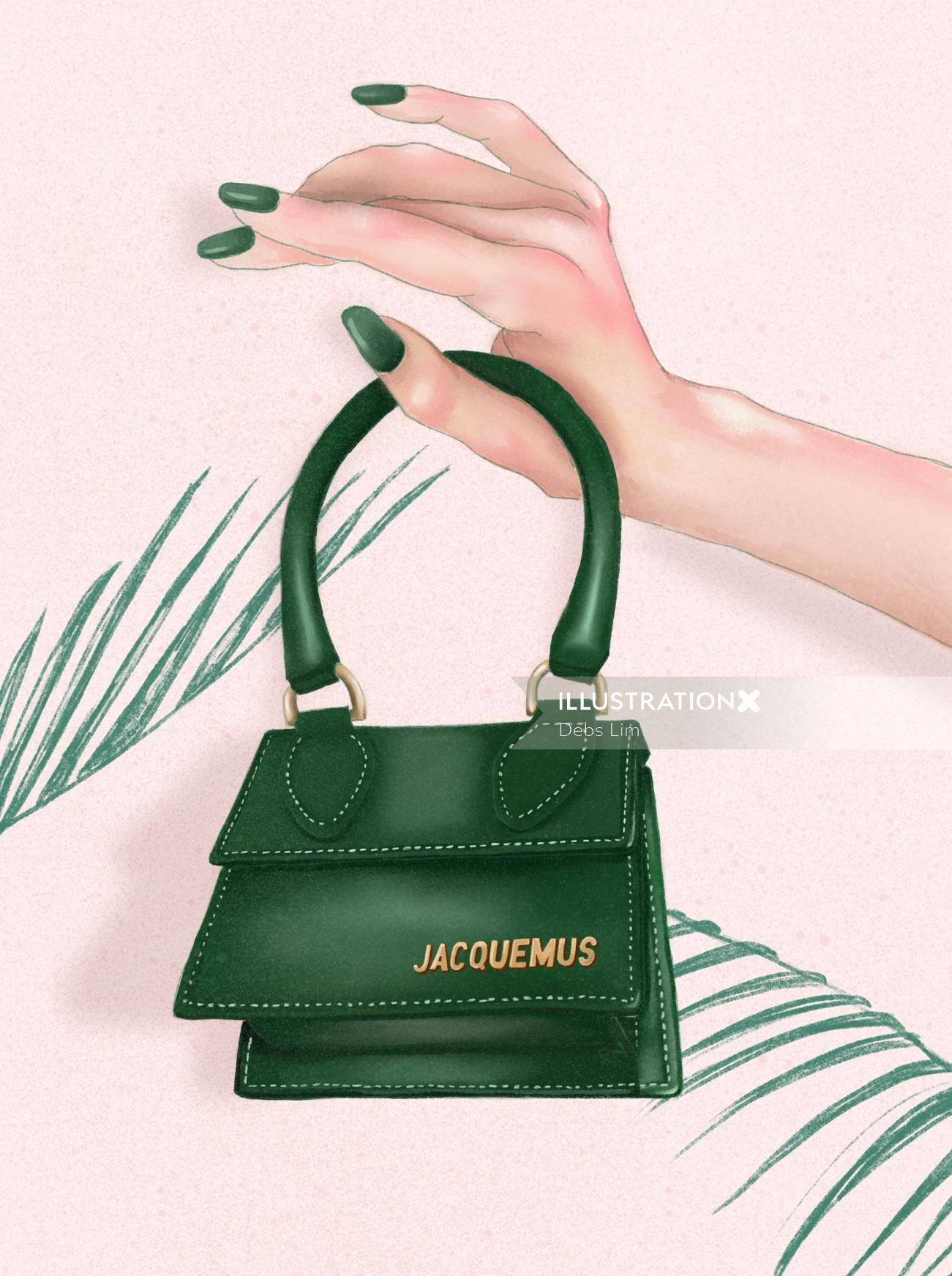 Fashion illustration of a Jacquemus mini bag