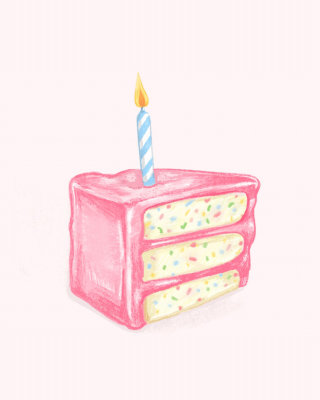 Pink birthday cake with confetti inside