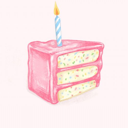 Pink birthday cake gif animation