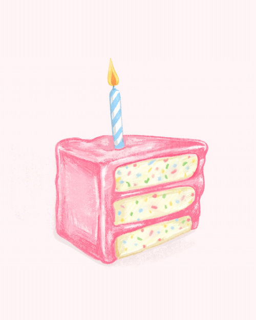 Pink birthday cake gif animation