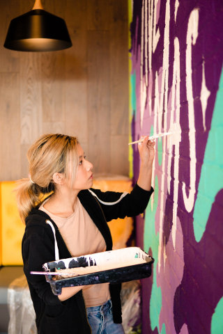 Live art wall mural in coffe shop
