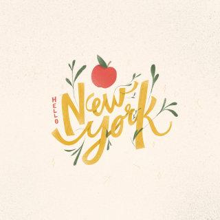 New york lettering illustration