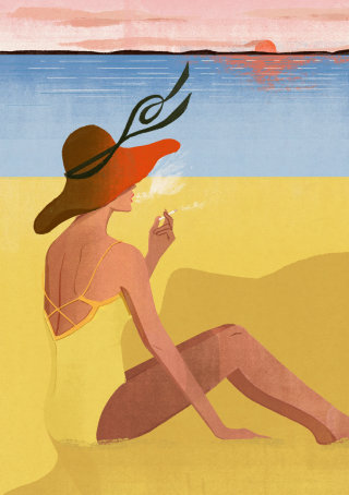 Female smoker graphic art