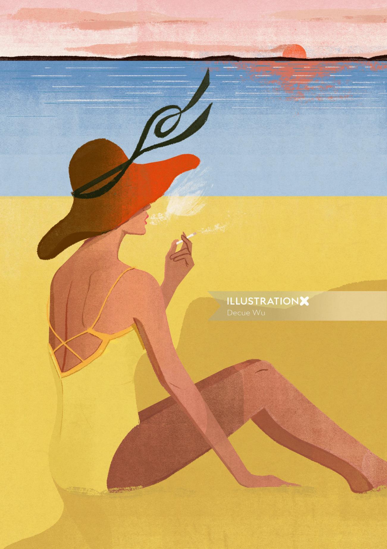 Female smoker graphic art
