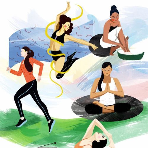 Lifestyle illustration of women fitness