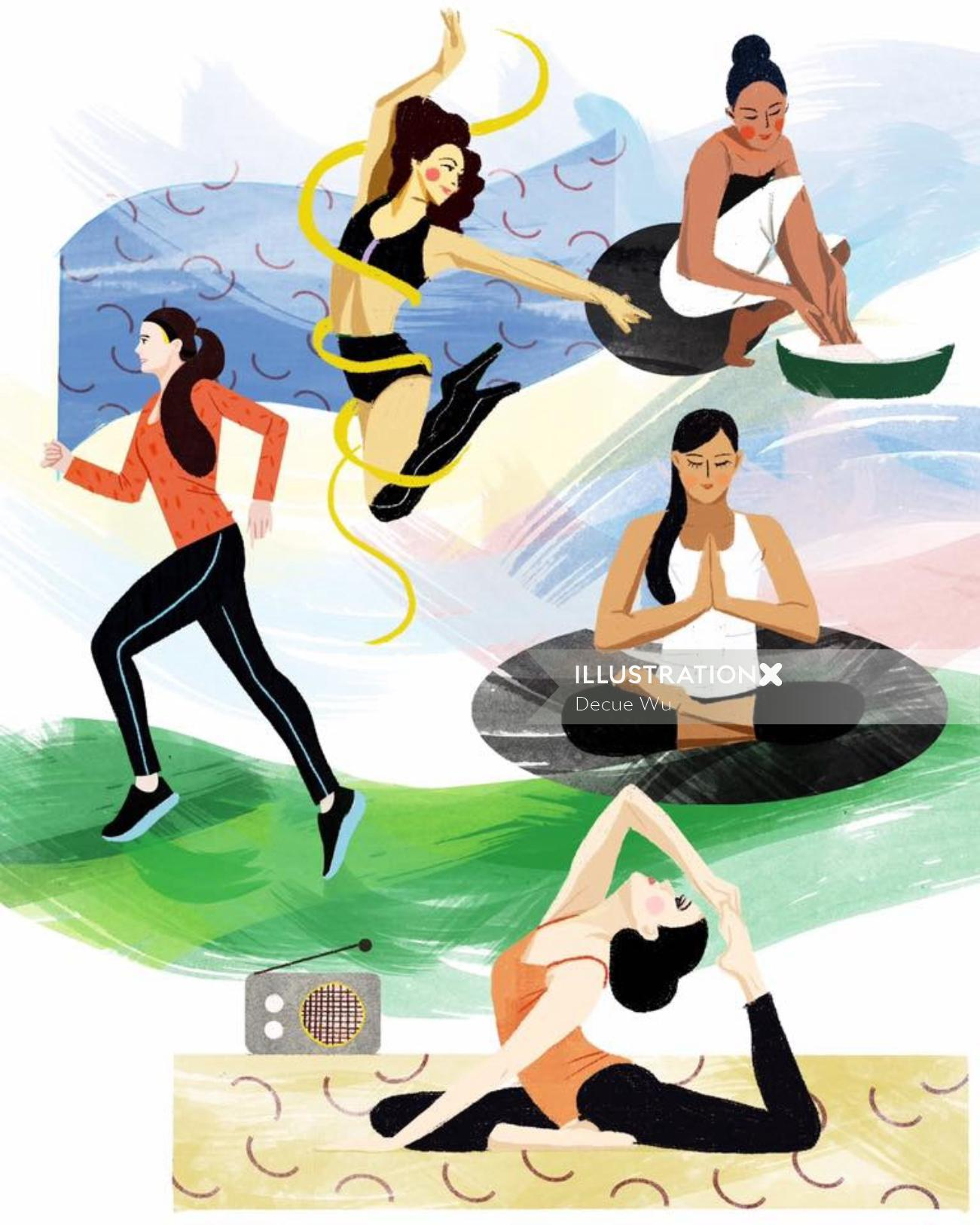 Lifestyle illustration of women fitness