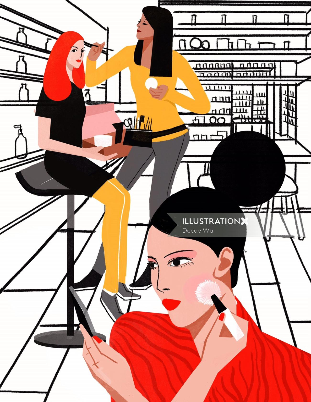 Line drawing of women applying makeup