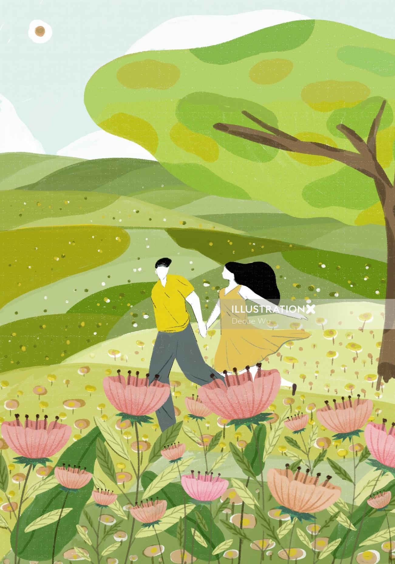 Hona Organic illustration for Lohas magazine