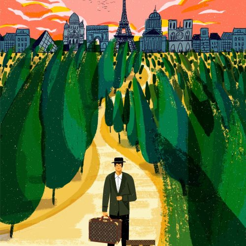 Editorial illustration of travel stories for Vogue China