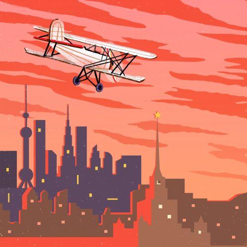 Digital painting of flight