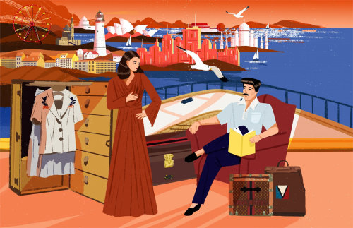 Lifestyle illustration of boat traveling
