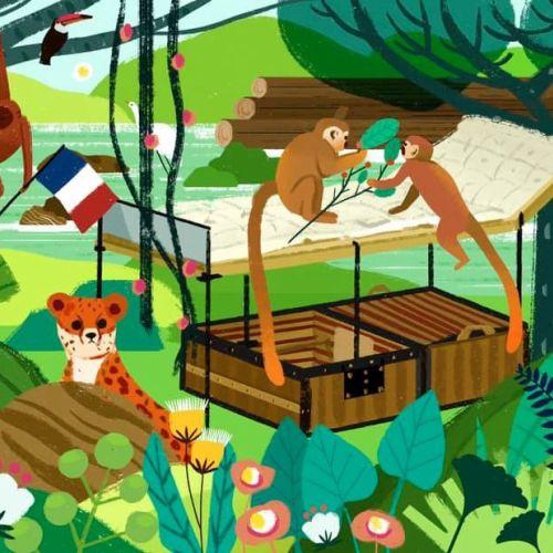 Digital illustration of LV's camp bed suitcase