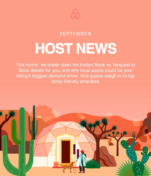 Editorial illustration of September's host news for airbnb