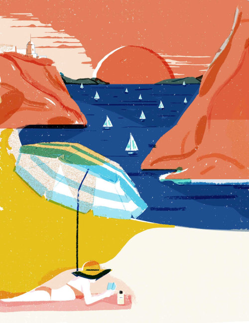 The beach vacation editorial illustration for Elle decoration China