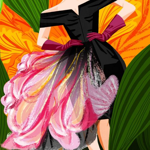 Fashion illustration of black flower gown