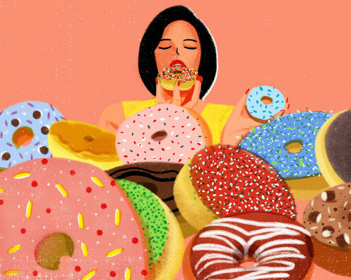 Donuts digital illustration for Vogue China