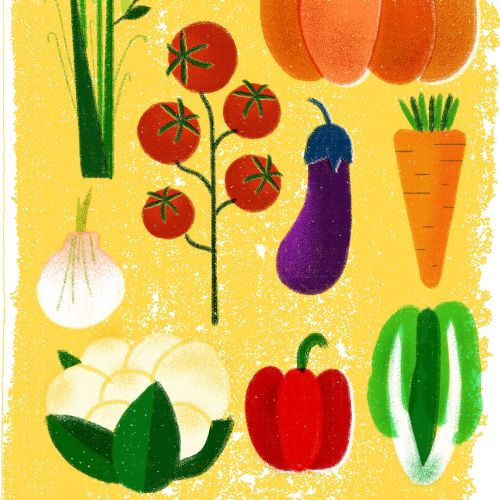 Editorial illustration of vegetables for Vogue China March