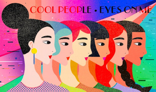 Fashion illustration of cool people eyes on me for Vogue China
