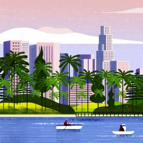 Lifestyle illustration of vacation on river