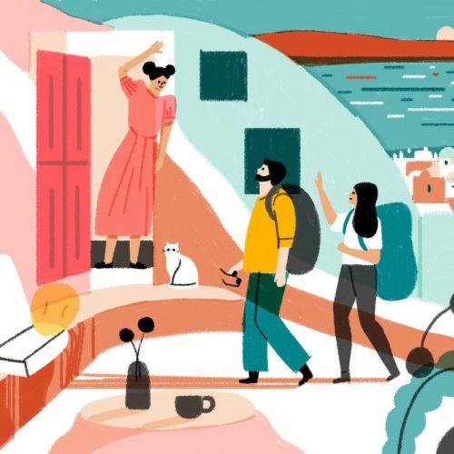 Digital illustration of Airbnb HQ's new building