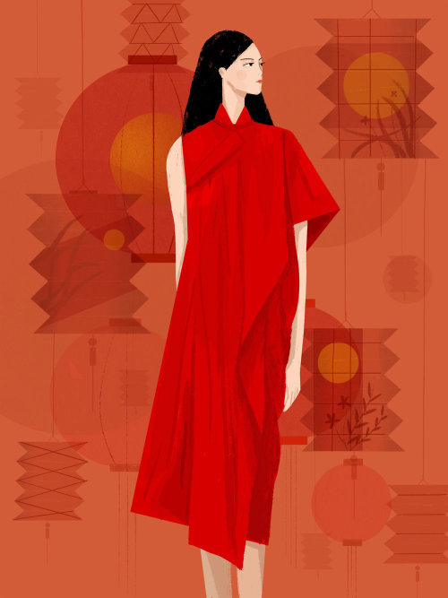 Fashion illustration of long red gown